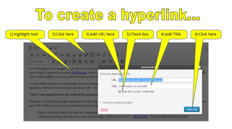 Housekeeping - Creating a Hyperlink